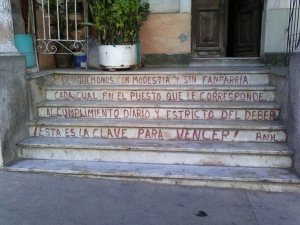 Cuba Raul quote on steps