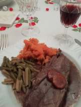 Wild boar, sweet potatoes, green beans. And red wine, of course.
