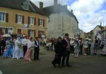 Mme. et Mme. Cintrat leading the bridal procession into the church, Essoyes a la Belle Epoque, July 2017